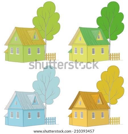 Set cartoon colorful houses and trees isolated on white background. Vector - stock vector