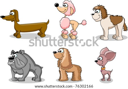 set cartoon dogs of different breeds - stock vector