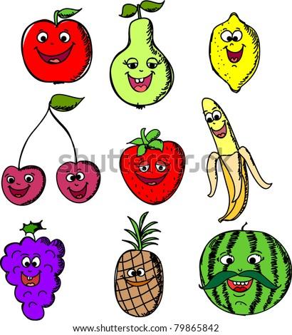 Set cartoon funny of fruits - stock vector