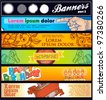 set cartoon horizontal banner - stock vector