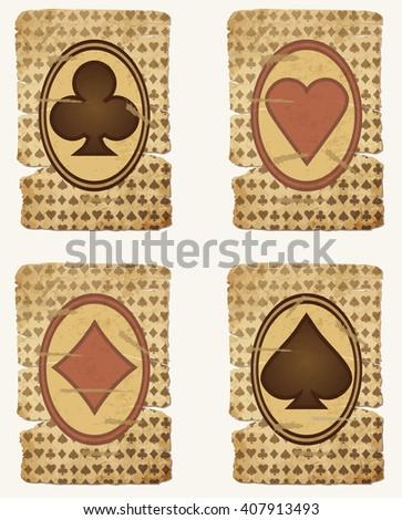 Set casino poker cards, vector illustration - stock vector