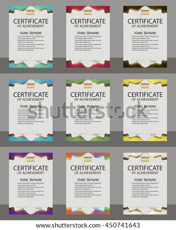Set certificate of achievement. Winning the competition. Reward. Award winner. Vertical template. The text on separate layer. Vector illustration. - stock vector