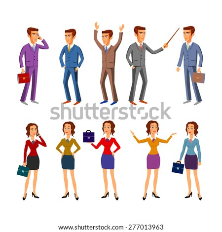 set characters for use in design. office team. vector. art man women - stock vector