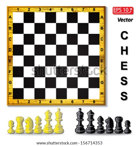 set chess board , black and white  chess pieces , chess figure , king. queen, bishop, knight , pawn, rook isolated on white background vector - stock vector