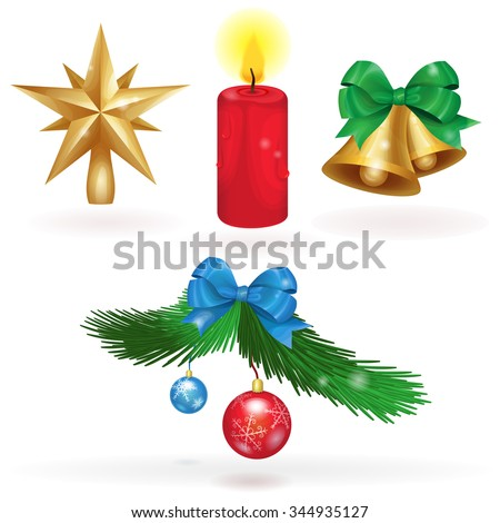 Set christmas icons in vector. Christmas star, bells, candle and the branch of a Christmas tree with decorations.  - stock vector