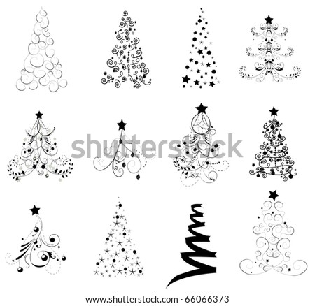 Set Christmas Trees - stock vector