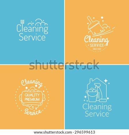 Set. Cleaning service. Label collection. Logo and design elements. - stock vector