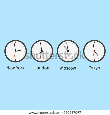 Set clocks with different time in different cities. Vector illustration. - stock vector