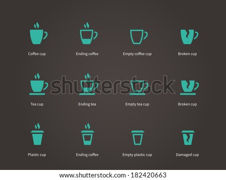 Set coffee cups icons. Vector illustration. - stock vector