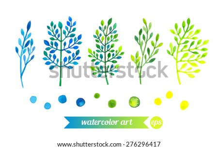 Set collection floral elements. Vector. Watercolor painting. Hand drawn artwork illustration. Template for textile fabric design, patterns. Blue, cyan, indigo, green, yellow colors.  - stock vector