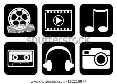 Set, collection, group of different media, music, movie, film, video, headphones icons and widgets, vector art image illustration, eps10, isolated on black background - stock vector