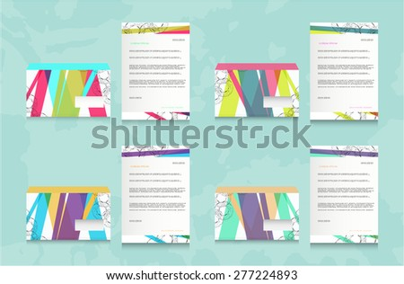 Set, collection, group of four striped, colorful - pink, green, blue, yellow, red - isolated, modern, simple envelopes and papers on blue background - stock vector