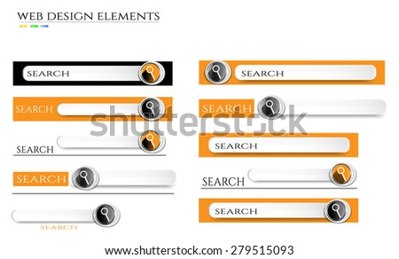 Set, collection, group of white, gray, black, orange, modern, isolated, search bars with magnifier icon, text, design for website, white background - stock vector