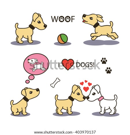 set collection of cute cartoon icons of a happy playful puppy baby dogs. isolated with shadows and text on white - stock vector