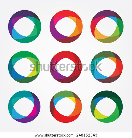 set collection of trendy multicolored overlapping transparent circle shaped logo design elements - stock vector