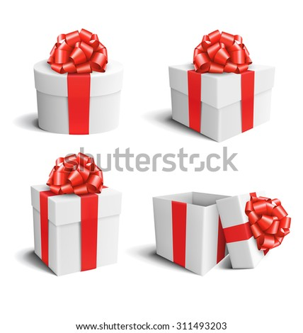 Set Collection of White Celebration Gift Boxes with Red Bows Isolated on White Background - stock vector