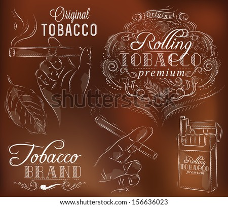 Set collection on tobacco and smoking a pack of cigarettes vintage tobacco leaves hands with a cigarette on a brown background - stock vector