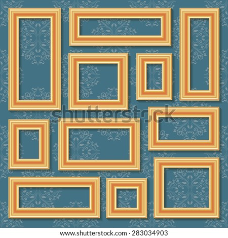 Set collections of golden empty frames on the blue damask pattern background with shadows for your art, text or photo. Vector illustration. - stock vector