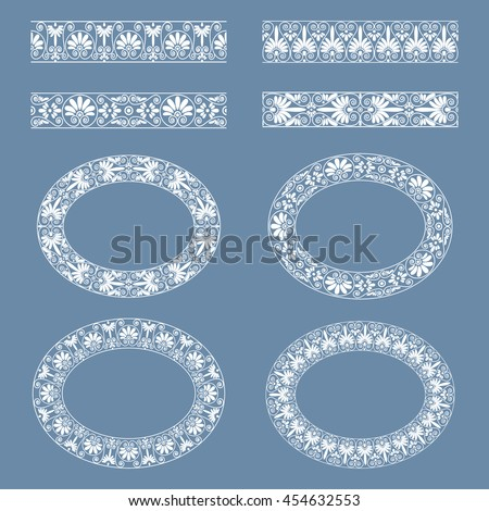 Set collections of greek style ornaments. Oval frames and borders in white color on the grey blue background. Ethnic patterns. Vector illustrations. Can be used for birthday card, wedding invitations - stock vector