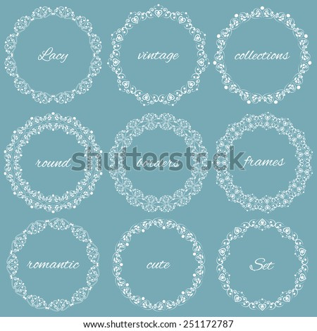 Set collections of round vintage lacy frames for your text or photo. White cute elegant elements isolated on soft blue background. Vector illustration. Can use for birthday card, wedding invitations - stock vector