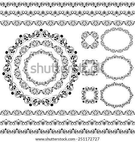 Set collections of vintage lacy borders and frames. Black cute elegant elements for design isolated on white background. Vector illustration - stock vector