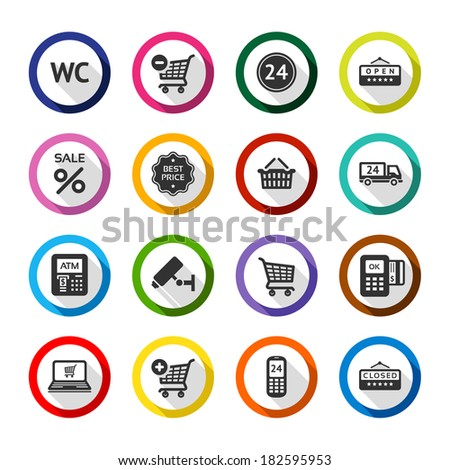 Set color flat buttons, symbols with shadow. Vector illustration 10eps - stock vector