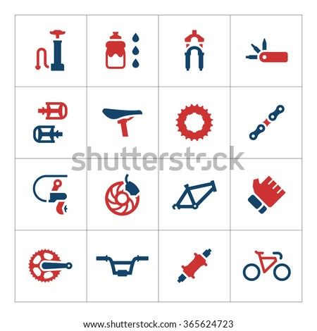 Set color icons of bicycle parts and accessories - stock vector