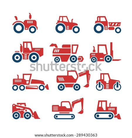 Set color icons of tractors, farm and buildings machines, construction vehicles isolated on white. Vector illustration - stock vector