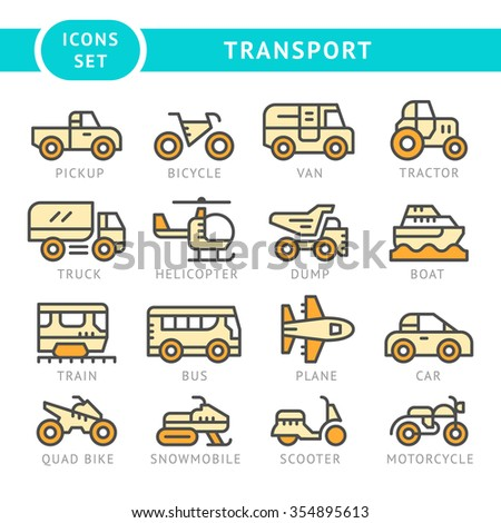 Set color line icons of transport isolated on white. Vector illustration - stock vector