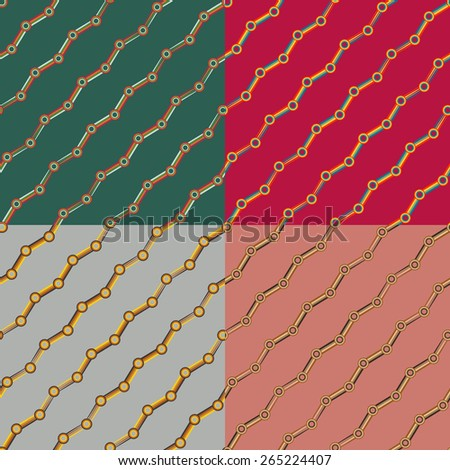 Set color of seamless patterns of rings connected by strips - stock vector