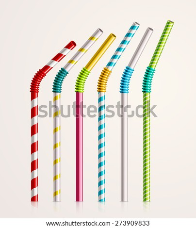 Set colorful drinking straws, eps 10 - stock vector