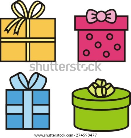 set  colorful icons of gift boxes, vector illustration - stock vector
