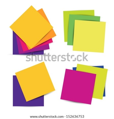 Set Colorful paper notes. Vector illustration EPS10 - stock vector