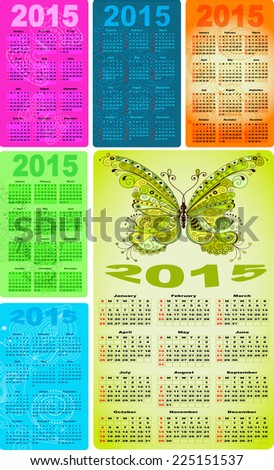 Set colorful pocket calendars for 2015 with vintage pattern and butterflies (vector eps 10) - stock vector