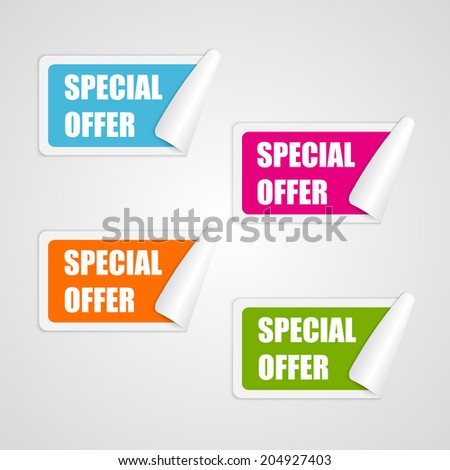 Set colorful square special offer stickers. Vector illustration - stock vector