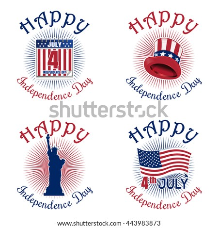 Set colors icons for Independence Day. Fourth of July. Happy Independence Day of America. Statue of Liberty, US flag, star, Uncle Sam's hat, calendar. Vector icon isolated on white background - stock vector