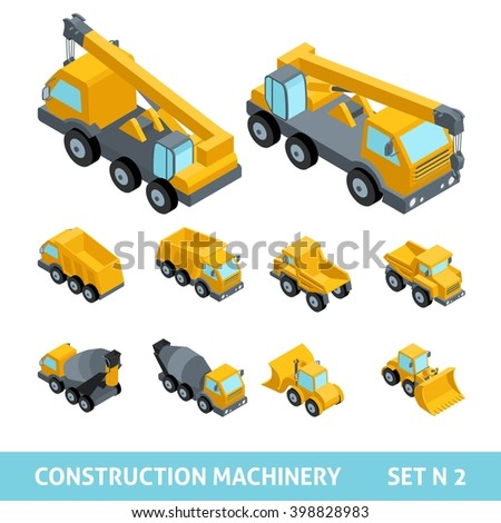 Set ?2 construction equipment, isometric style. Dump trucks, paver, tractor, harvester, machine, flat style, 3D. Vector illustration - stock vector
