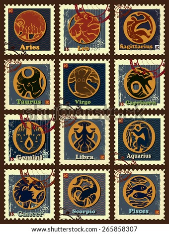 Set contains images of zodiac signs , postage stamps, price and postage seal.Set of postage stamps with zodiac sings.  - stock vector