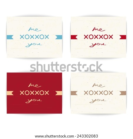 Set creative love letter - Me kiss and embrace you - stock vector