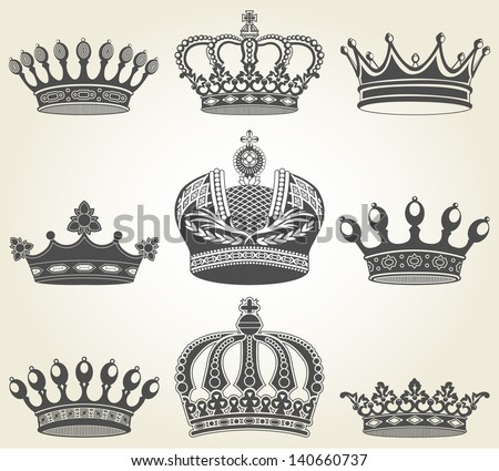 Set crowns in vintage style - stock vector