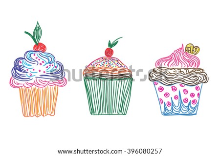 Set, cupcakes icons in doodle style, sketch, vector - stock vector