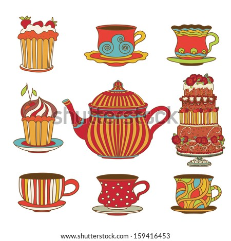 Set cups, cakes and kettle  - vector - stock vector