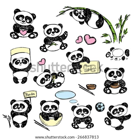 Set Cute Panda in various poses, hand drawing, vector - stock vector
