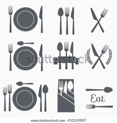Set cutlery icon vector illustration. Black silhouette of fork, knife, spoon and plate. Table appointments. Menu - stock vector