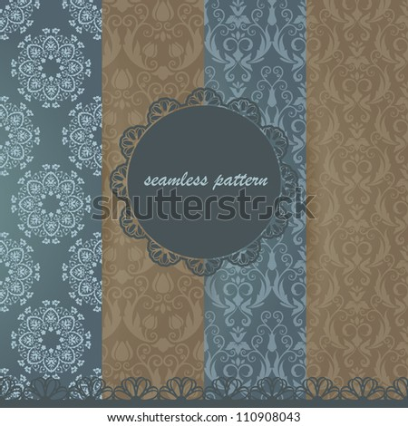 Set damask seamless pattern. Scrapbooking elements. Frame and lace. - stock vector