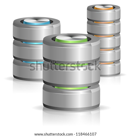 Set Database and Hard Disk Icon, isolated on white, vector illustration - stock vector