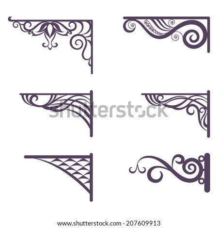 Set decorative vintage forged brackets for street signboard, silhouettes isolated on white background. Vector - stock vector