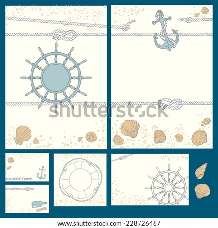 Set design in a marine style. Vector illustration. Wedding design, invitation cards - stock vector