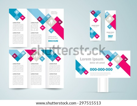 Set design template flyer, brochure, banner colored squares - stock vector