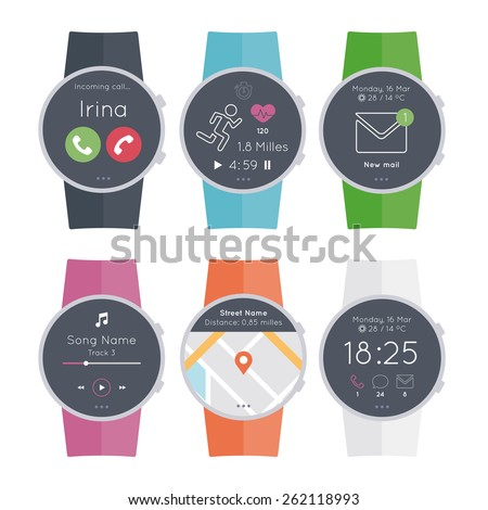 Set 6 different colors circular smart watch. Flat design style modern vector illustration concept of smartwatch gadget, phone calls, sms, mails, music media player, location, running...  - stock vector